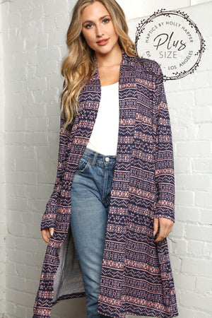 Plus Navy & Mauve Design Cardigan