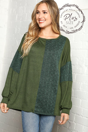 Plus Hunter Green Two Tone Hacci Brushed Jacquard Sweater