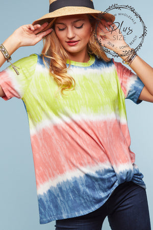 Plus Tie Dye Color Block Knot Hem Blouse