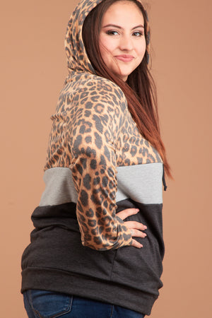Plus Grey Animal Print Colorblock Hoodie