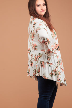 Plus Ivory Synch Hem Floral Cardigan