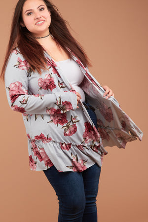 Plus Silver Synch Hem Floral Cardigan