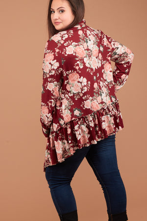 Plus Burgundy Synch Hem Floral Cardigan