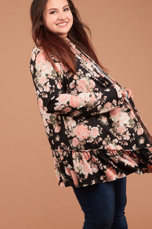 Plus Black Synch Hem Floral Cardigan
