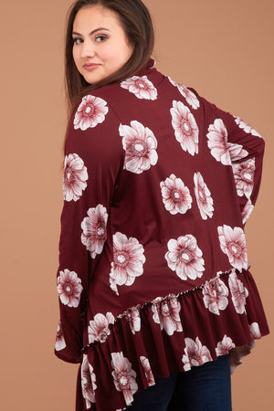 Plus Wine Synch Hem Floral Cardigan