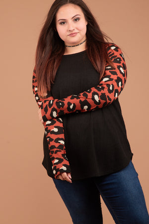 Plus Orange & Black Animal Print Raglan Thermal Blouse