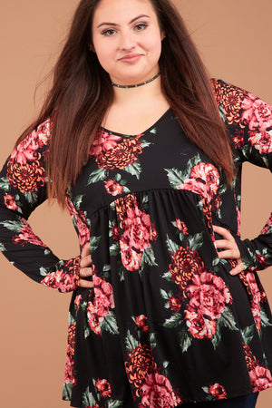 Plus Black Floral Babydoll Blouse