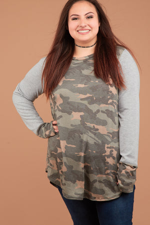 Plus Camo Raglan Design Thumb Hole Blouse