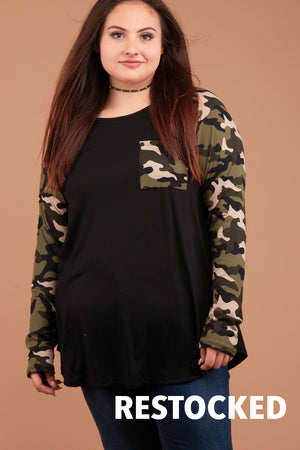 Plus Black & Camo Pocketed Raglan