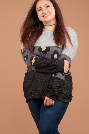 Plus Charcoal Animal Colorblock Sweater