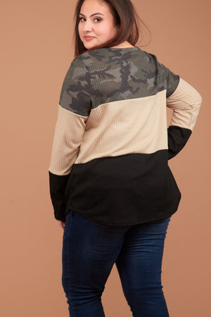 Plus Camo Taupe Colorblock Thermal Blouse