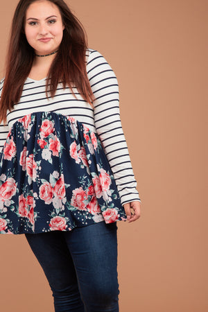 PLUS Stripe Navy Floral Babydoll Blouse