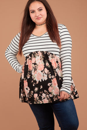PLUS Stripe Black & Pink Floral Babydoll Blouse