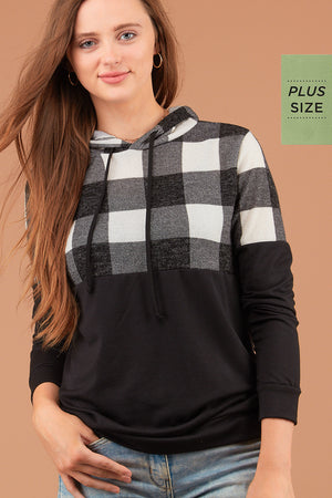 PLUS Black & Ivory Plaid Hoodie