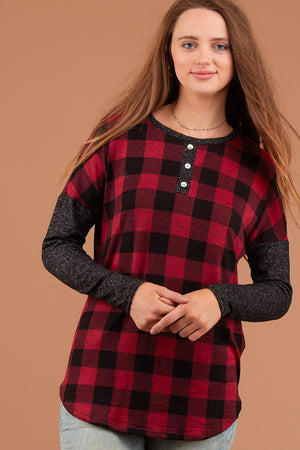 Red Plaid Long Sleeve Sweater