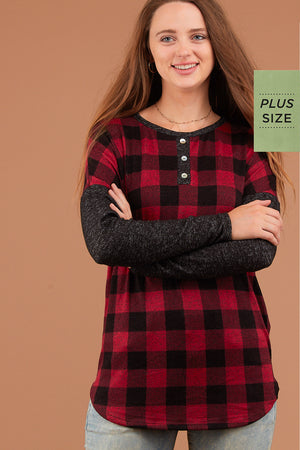PLUS Red Plaid Long Sleeve Sweater
