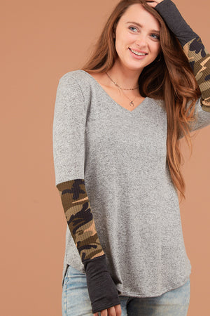 Grey Camo Sleeve Thumb Hole Blouse