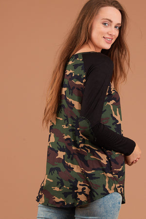 Olive & Black Camo Elbow Patch Blouse