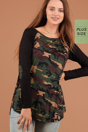 PLUS Olive & Black Camo Elbow Patch Blouse