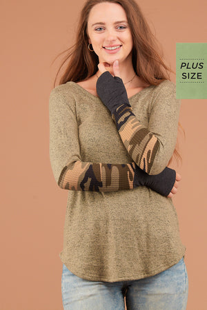 PLUS Olive Camo Sleeve Thumb Hole Blouse