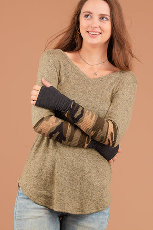 Olive Camo Sleeve Thumb Hole Blouse