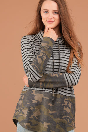 Grey Stripe Camo Cowl Sweater