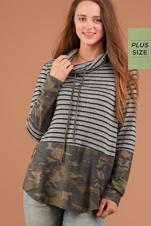 PLUS Grey Stripe Camo Cowl Sweater