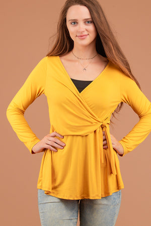 Mustard Tie Front Solid Blouse