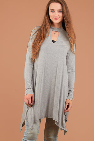 Grey Key Hole Dress