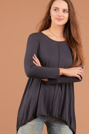 Charcoal Split Back Blouse