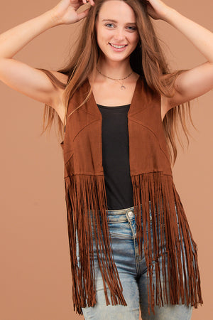 Brown Fringe Sleeveless Vest