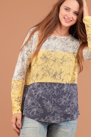 Ivory & Yellow Floral Colorblock Blouse
