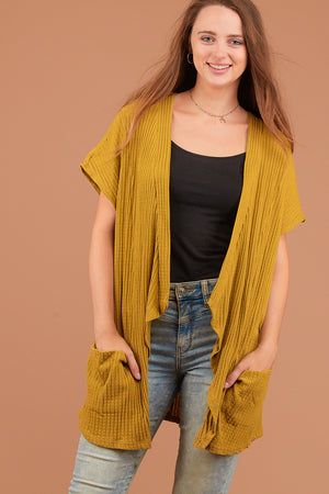 Mustard Pocketed Cardigan
