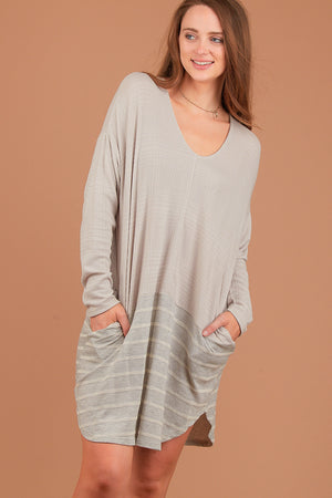 Grey Stripe Colorblock Dress