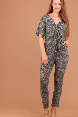 Grey Animal Print Soft Jumpsuit