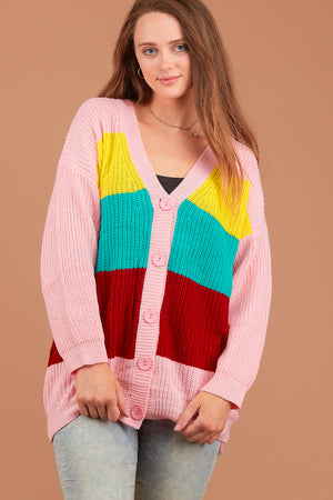 Pink Multi Stripe Button Sweater