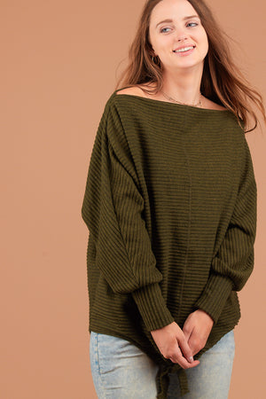 Olive Lined Tie Hem Sweater