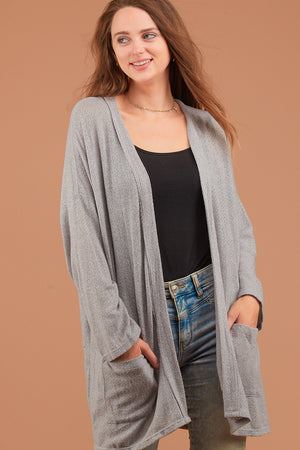 Grey Solid Cardigan