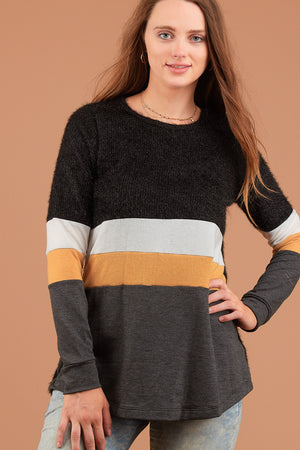 Black Multi Stripe Colorblock Sweater