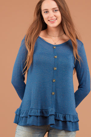 Off Blue Hacci Button Ruffle Blouse