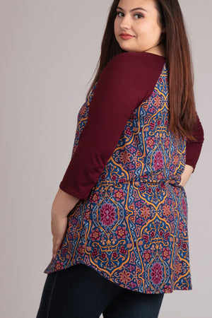 PLUS Maroon Print Design Raglan Blouse