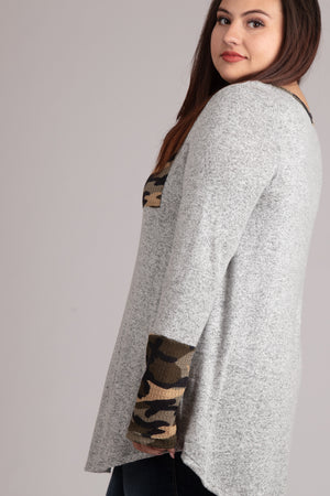 PLUS Grey 2 Tone Marled Camo Pocket Blouse