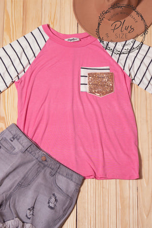 Plus Coral Stripe Double Pocket Sequins Raglan Blouse