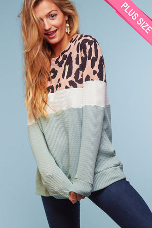Plus Thermal Coral & Mint Animal Color Block Sweater