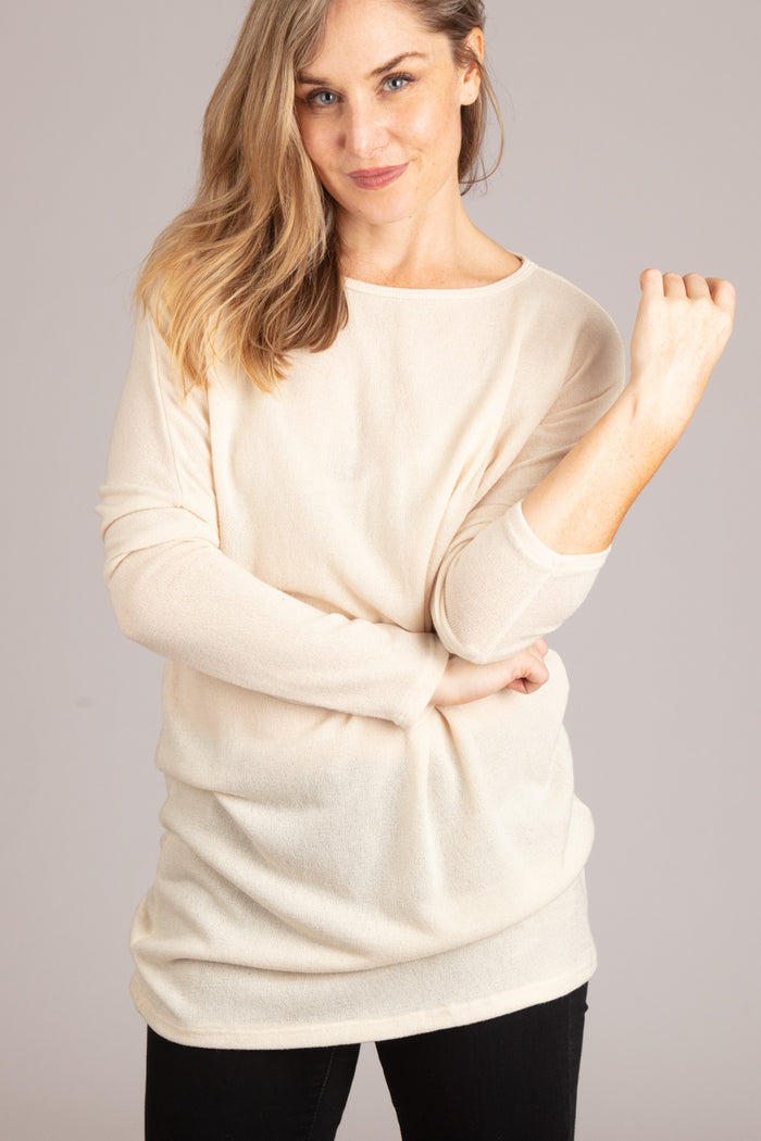 Off Ivory Solid Sweater