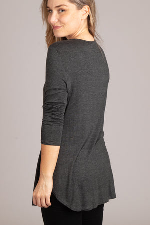 Charcoal Grey Cross Blouse