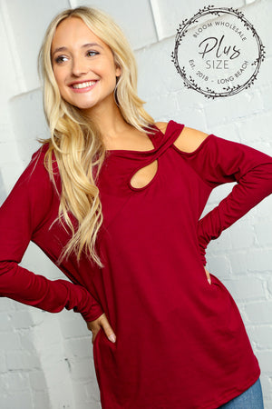 Plus Burgundy One Shoulder Cut Out Long Sleeve Blouse