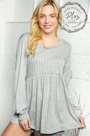 Plus Heather Grey Rib Babydoll Bubble Long Sleeve Blouse