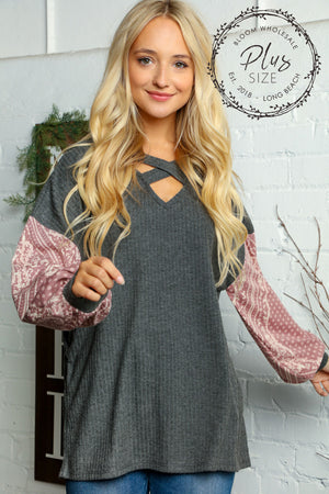 Plus Charcoal & Mauve Paisley Color Block Criss Cross Blouse