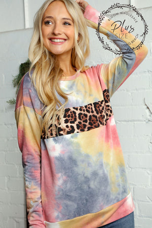 Plus Multi Tie Dye Animal Print Detail Blouse
